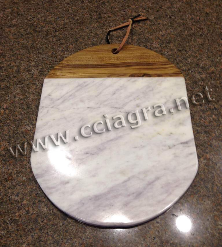 Natural Marble Wood Cheese Cutting Board Serving Plate Chopping Block