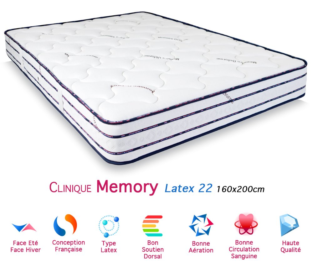 Matelas mattress latex memory thickness 22 160x200cm - Matelas latex 160 x 200 ...