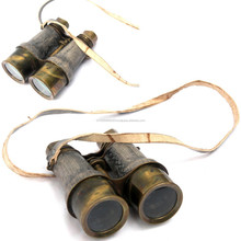 retro and vintage look Leather Covered Brass Binocular