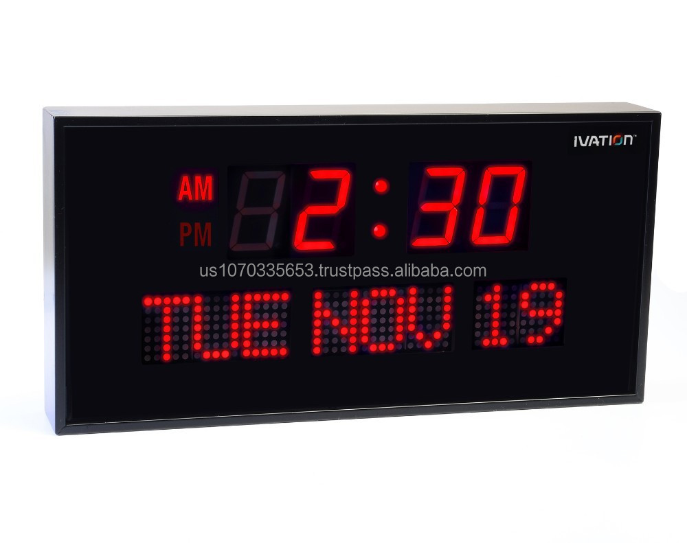 Ivation Big Oversized Digital Led Calendar Clock With Day