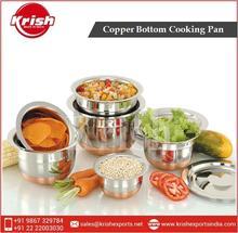 Diverse Range of New Copper Bottom Indian Cooking Pans Set