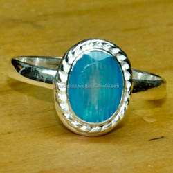 Blue banded agate Silver Jewelry , Exclusive Ring Antique Look Tropical Magic Women's Love SER4085