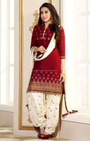 ADORABLE BOLLYWOOD STYLE PATIALA SUIT IN RED WHITE COLOR PUNJABI PATIALA SALWAR SUITS
