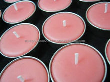 Candles:Scented Mok flowers Tealight candles in metal cups for home, party decoration, gift, souvenir from Thailand