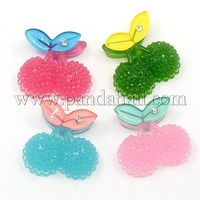 Imitation Jelly Style Resin Cabochons, with Rhinestone, Cherry, Mixed Color, 23x28x9mm CRES-I026-27