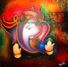 Factory Price High Quality Handmade Pictures Oil Painting of Ganesha