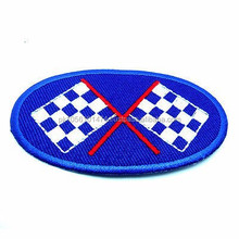 Embroidered Sew Iron on Patch with Racing Flag
