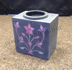 Grey Soapstone Aromatherapy Spa Burner with fine Inlay work