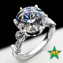 New Wedding Diamond Ring 14K White Gold .925 Platinum 3 CT Luxury Engagement Wedding Diamond Ring pakistan