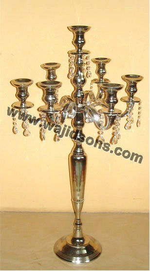 Contemporary gold plated centerpiece candelabra and modern