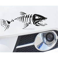 CAR BOAT WINDOW SKELETON ANGRY SHARK MAD FISH FISHING STICKER DECORATION VINYL DECAL BLACK