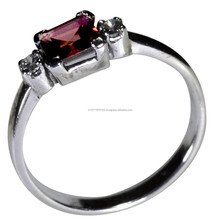 Beautiful Sterling Silver Gemstone Ring For Women , 925 Sterling Silver Garnet Gemstone Ring