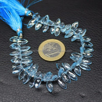 Natural Blue Topaz Faceted Marquise Drops Briolettes Beads Strand