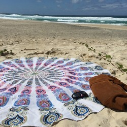 Handmade persian tapestry oval shape handprinted home decor Indian Mandala Round tablecloth