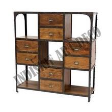 industrial vintage marco de hierro de madera industrial estantes estantes vintage librería