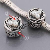 Cats Eye Zinc Alloy Beads plated with glass pearl & without more colors for choice 9x9mm Sold By PC