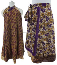 "Reversible Magic Silk Wrap Skirt Long 36"" Plus Size Vintage Halter Dress WP3243A"
