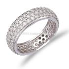 Atacado handmade turco prata anel pave, zirconia ouro prata anel pave