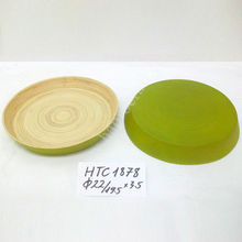 Coiled bamboo dish in Vietnam/ Lacquered bamboo plate/ Lacquer plate using for kitchen and dinner (HTC 1878)