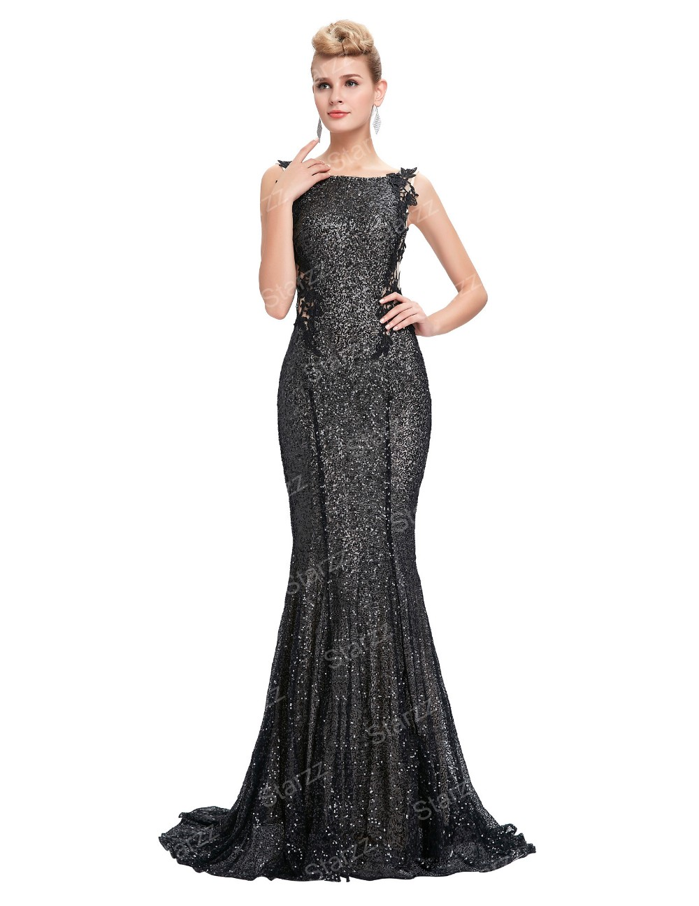Starzz 2016 Sleeveless Black Shining Sequins Backless Ball Gown ...