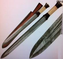 Sword by York Vivant-Custom Handmade Damascus Steel Blade Sword YV-AB100 Camel Bone & Walnut Wood Handle