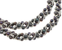 dark purple bracelet & necklace Natural Cultured Freshwater Pearl Jewelry Sets