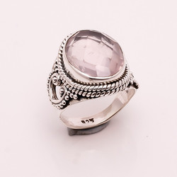 925 Solid Sterling Silver Ring, Natural Rose Quart Gemstone Jewelry, Australia Jewelry