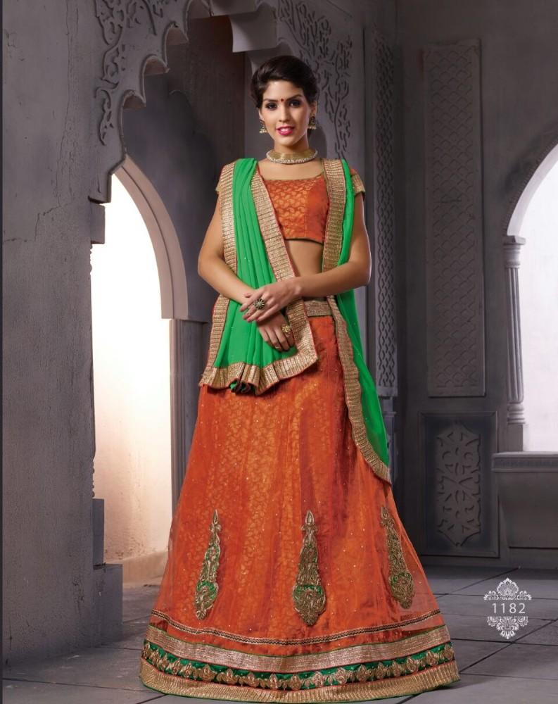 Designer Orange Party Wear Lehenga Choli Amp Blouse Designs