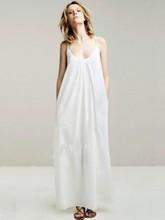 Women Long Cotton Suspenders Dress Long Pure Color Sling Dress