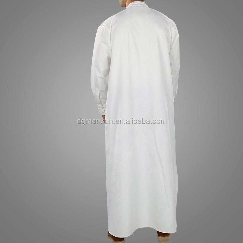 Wholesale High Quality Saudi Arabic Islamic Muslim Men White thobe (4).jpg