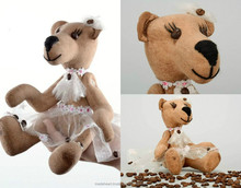 """Handmade fragranced toy made from cotton and coffee beans """"Bear bride"""""""
