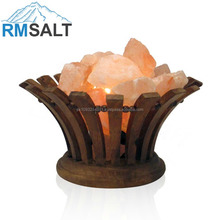 Rose Wooden Baskets Lamps with Salt Chunks