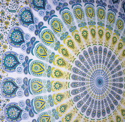 Cool Blue Mandala Wall Hanging Hippy Bohemian Tapestries tightly loomed fabric wall decor.