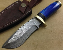 Custom Hand Made Damascus Blade Hunting Knife with Leather Sheath