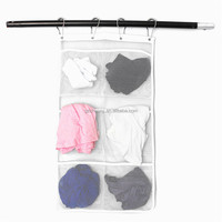 Popluar Bathroom Save Space New Design Tub Shower Hanging Mesh Organizer Storage Caddy 6 Bags With 4 Hooks Metal Buckles