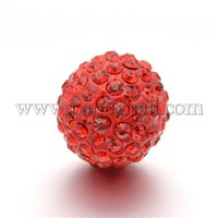 Round Rhinestone Clay Pave Bell Beads, with Brass Findings, No Hole, Light Siam, 17mm RB-D290-09