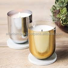Silver & gold candle jars with marble lids , silver candle jars