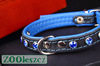 Genuine leather dog collar with colored crystals for small dogs