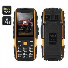 GSM Phone, 4800mAh Battery, 2.4 Inch, Dual SIM, IP67 Waterproof Rating, FM Radio, Flashlight (Yellow)