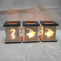 Wood Candle Holder with Glass & Iron Rectangle brushwork mixed 110x130mm 10PCs/Lot Sold By Lot