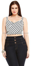 2015 Fashionable And Stylish Sleeveless Crop Tops With Black And White Print For Ladies