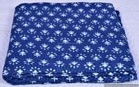 Sanganeri Print Indigo Blue Floral Art Throw 100% Pure Cotton Handmade Fabric