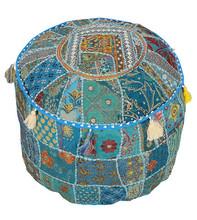 Vintage Sari fabric Ottomans & Poufs Mughal Style