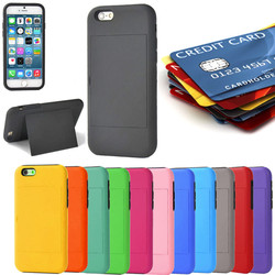 13 Colors Heavy Duty Hidden ID Card Holder Hybrid Case With Kickstand Case Cover for iPhone 6 USA, Los Angeles Wholesale