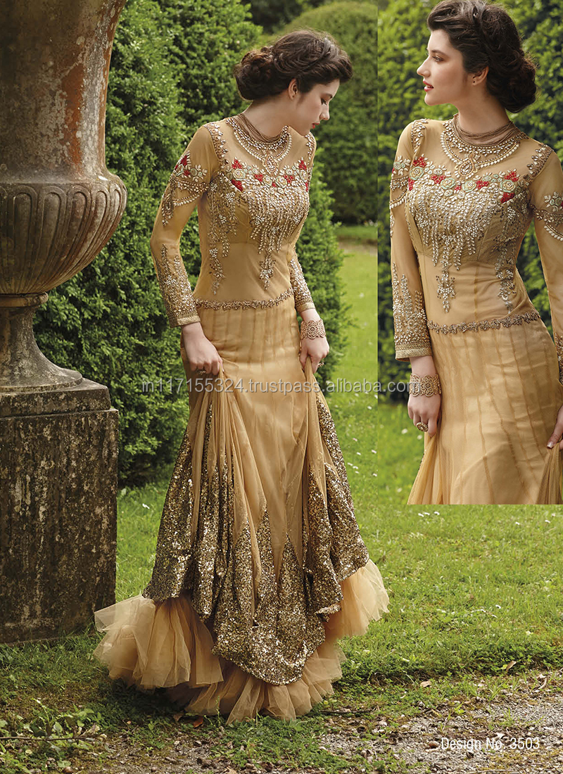 Awesome wedding wear designer floor touch gowns indian for Floor touch gown