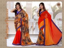 Orange with animal print Designer Printed Sarees
