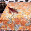 Beautiful Paisley Print Kantha Quilt Handmade Applique Bed Sheet Ethnic Art Reversible Bedding