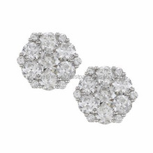 High Quality Hot Sell Charming Little Tiny Diamond Hexagon Stud Earrings