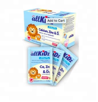 AllKiDz Canxi, kẽm, và Vitamin D3 Uống Mix cho trẻ sơ sinh, WeChat 6479923801