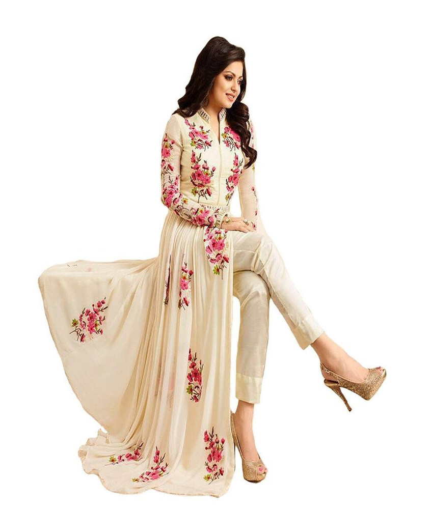 Cream Colour Floral Embroidery Ankle Length Anarkali Style Semi-Stitched Dress Latest Indian Ethnic Wear(anarkali dresses)